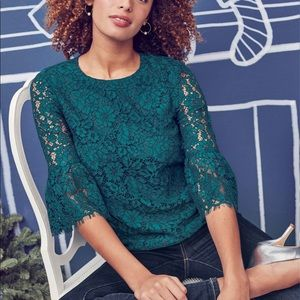 NWT Draper James Lace Bell-Sleeve Blouse